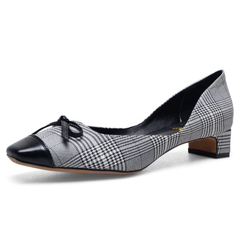 Small Block Heel Shoes,Checked Fabric