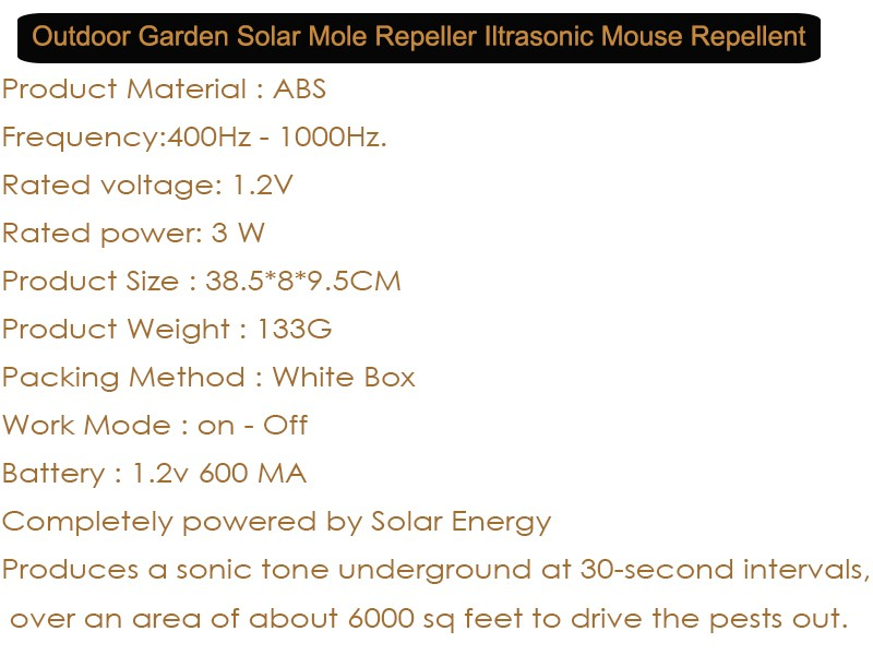 Outdoor Mouse Mole Repellente Nero Impermeabile Solare Del Roditore Dell'onda Ultrasonica Del Parassita Repeller