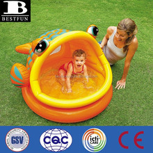 Promotional customized inflatable lazy fish baby shade pool baby wading pool shade swimming pool
