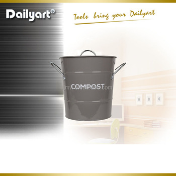 Colored Metal Kitchen Compost Caddy   Composting Bin For Food Waste  Recycling