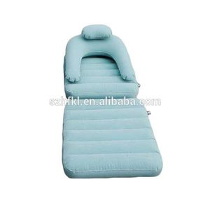 multifunctional flocking kids inflatable armchair sofa bed in blue