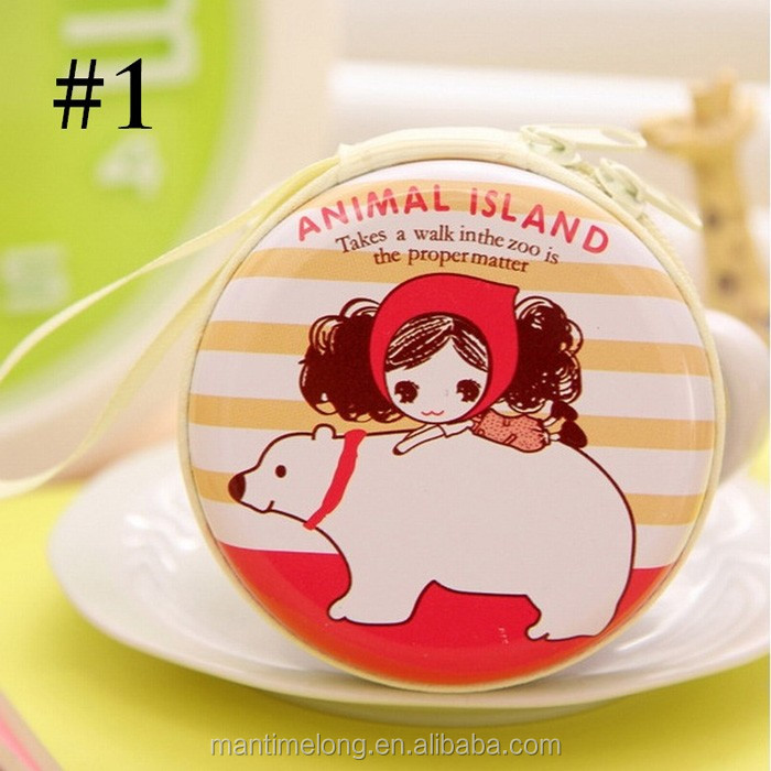 Fashion Cute Girls and Animals Women Zipper Coin Purse Wallets Mini Tinplate Cheap Sweet Admission Package Money Bags