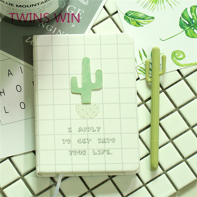Thailand Hot Selling Customized Multifunctional cute cactus design stationery sets gel pen notebook set with box for office
