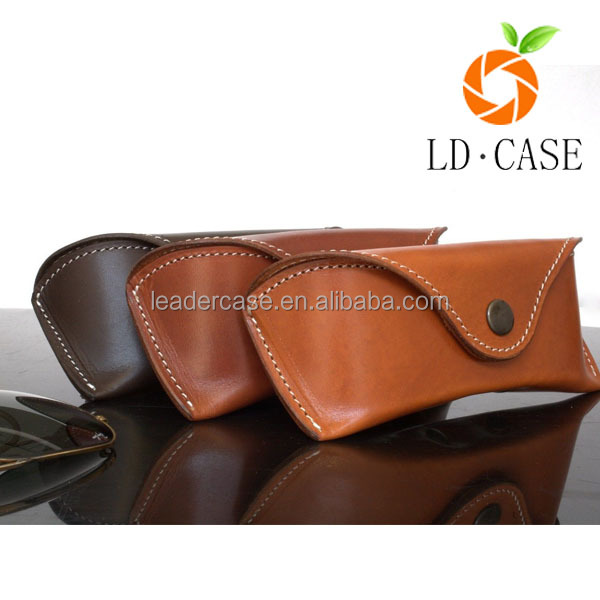 factory price Retro Foldable Glasses Case Leather Handmade Vintage Genuine Leather sunglass case
