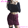 2017 Red Wine Suede Package Hip Short Extreme Micro Mini Skirts
