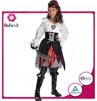 Factory direct sale caribbean pirate costume for baby girls children girl cosplay wear