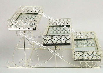 3 tier crystal metal serving serving glass crystal tray