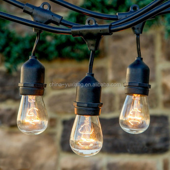 Outdoor String Lights 48ft Bulbs Not Included Heavy Duty Garden Hanging Market Patio Cafe Pergola Rope String Backyard Light Buy String Lights