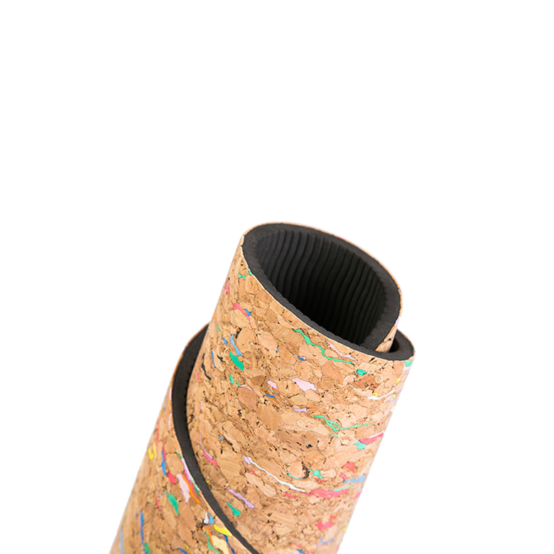 Wholesale non slip black tpe rubber cork yoga mat with double layer фото