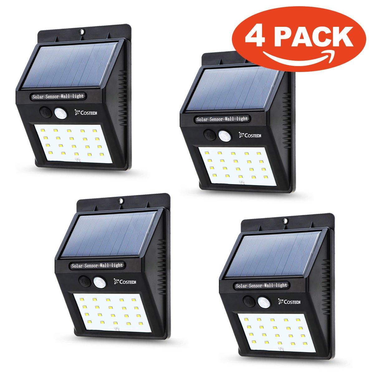4 Pack 20 Bright LEDsSolar Power Sensor Wall Light wireless solar powered motion sensor light Security Weatherproof Outdoor Lamp
