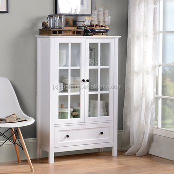 White Wooden Display Storage Cabinets