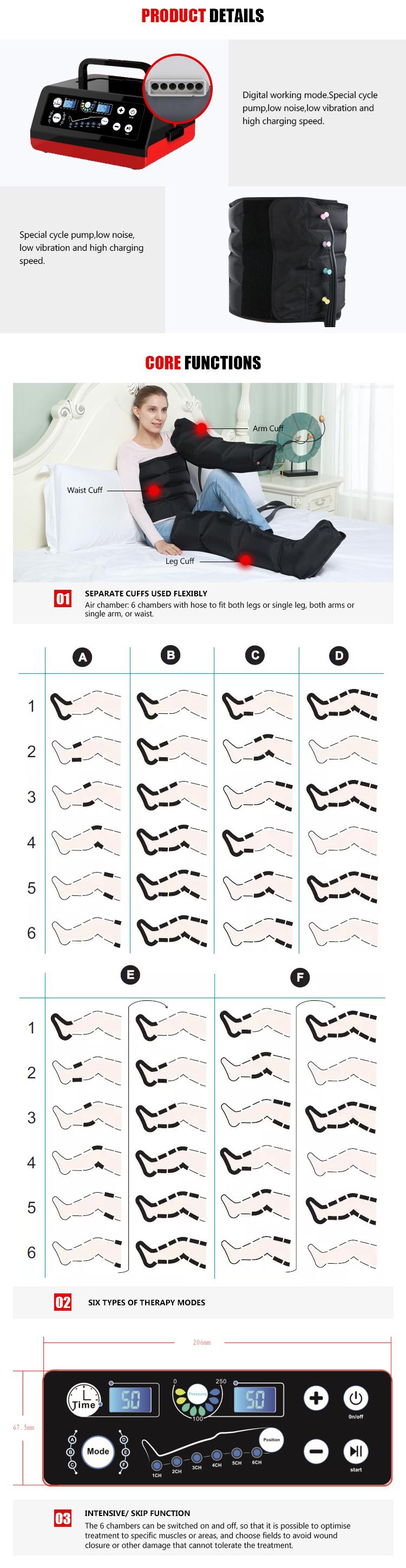 Compressione dell'aria di terapia del piede della gamba massaggiatore macchina di massaggio del corpo con massaggio
