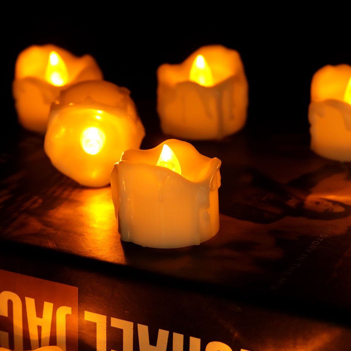 Get Quotations Youngerbaby 24pcs Amber Yellow Flickering Timing Tea Light Candles With Timer 6 Hrs On 18