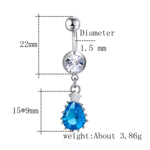 Navel Non Piercing Septum Rose Shaped Belly Button Ring With Gem