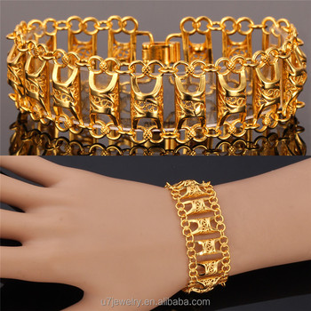 U7 Wide Gold Bracelet For Women Platinum 18k Real Plated Whole Unique Vintage Link