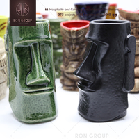 China Wholesale Hand Make High Quality Vintage OTAGIRI Green Custom Design Ceramic Tiki Mug For Pub