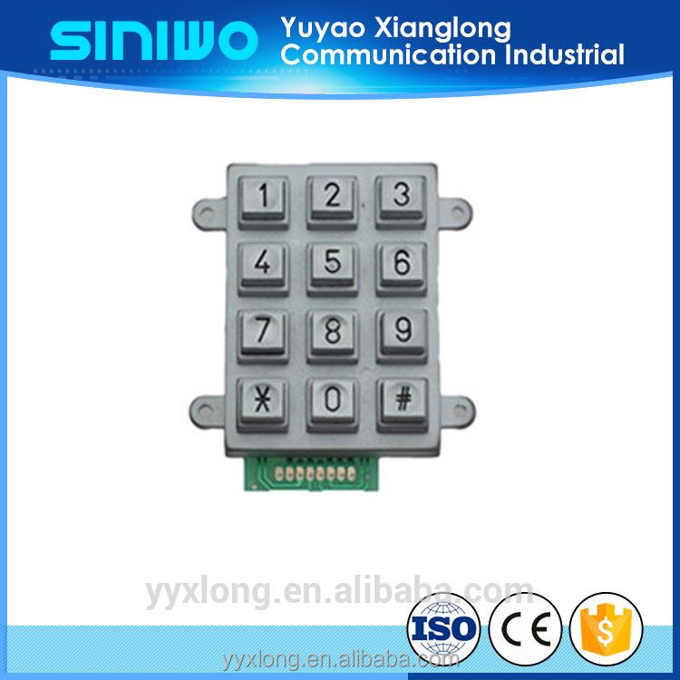 Vandal resistant black metal keyboard with numeric keypad kiosk etching keys for atm keypads
