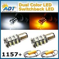 60-SMD 1157 3157 Switchback LED Bulbs (30-SMD White 30-SMD Amber) Free Load Resistors