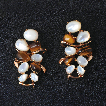 Gold Plated Brass Earring With Semi-Precious