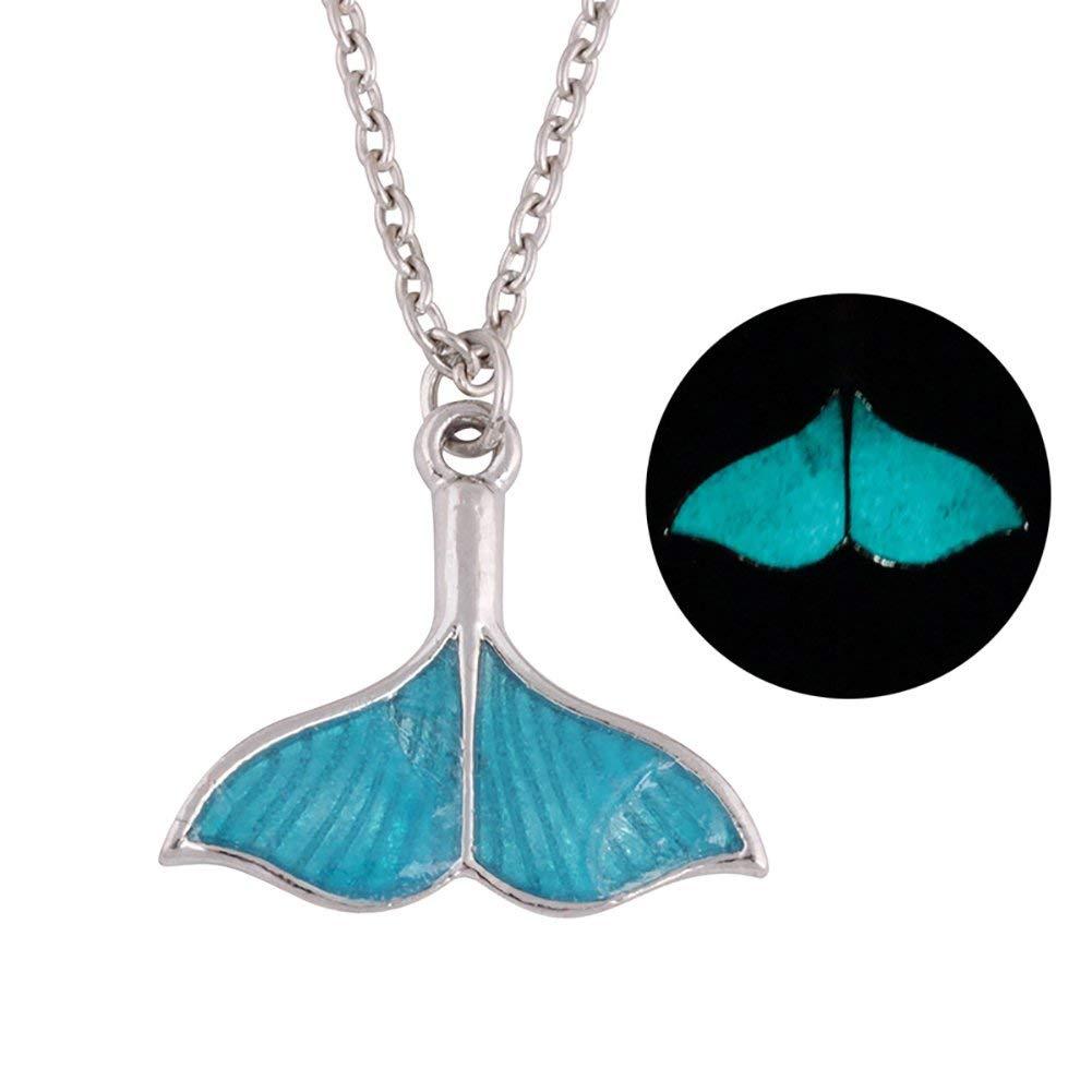 Necklace Opeof Women Fashion Glow-in-Dark Enamel Mermaid Tail Pendant Chain Necklace Jewelry - Silver