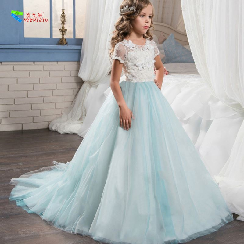 YIZHIQIU Flower Trailing Wedding Lace Princess Baby Girl Dress