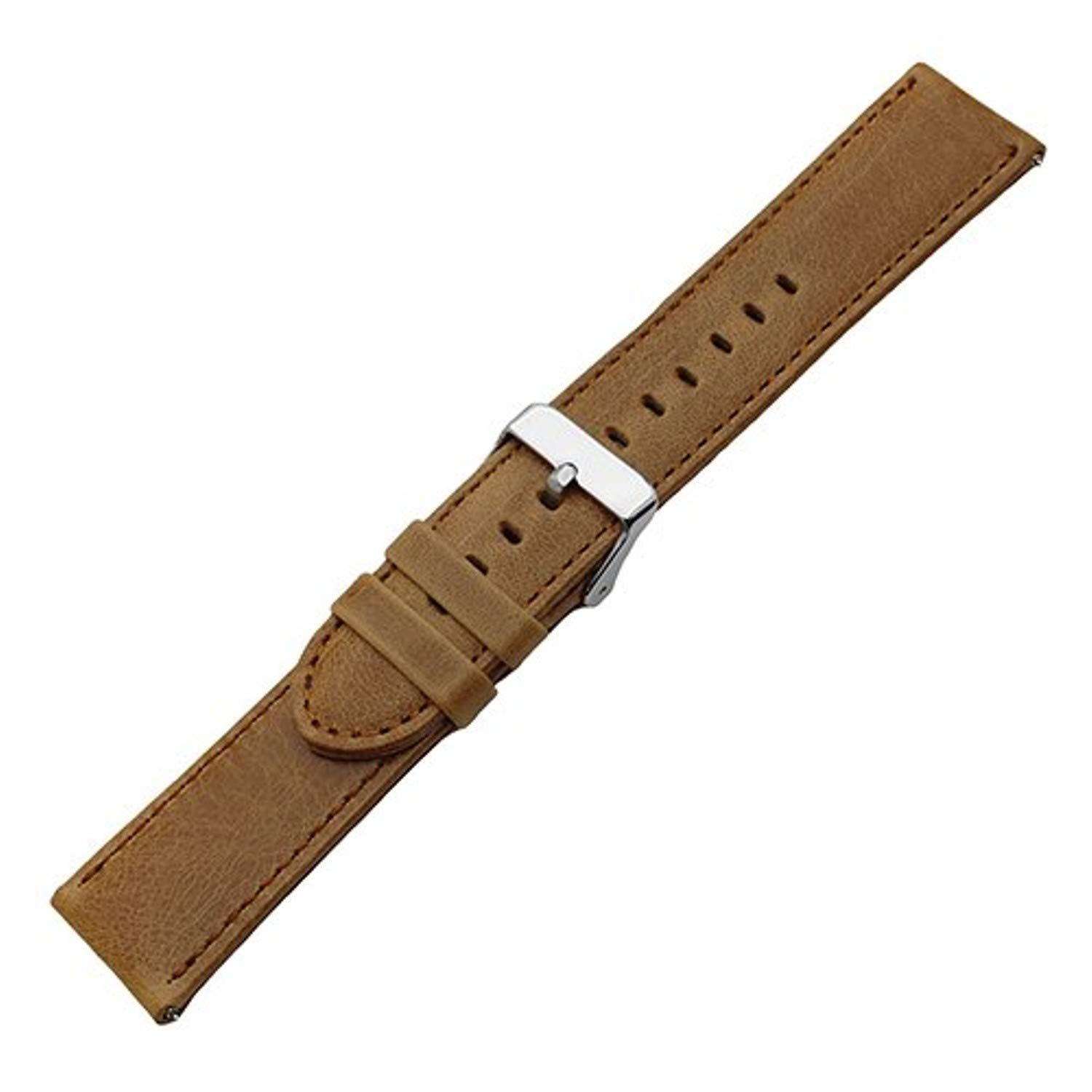 Jewh Leather Watch Band - Leather Watch Band for Pebble Time/Steel - 22mm Quick Release Belt - Wrist Strap Loop - Bracelet Black Brown Men Women + Spring Bar Smartwatch Bracelet (Light Brown P)