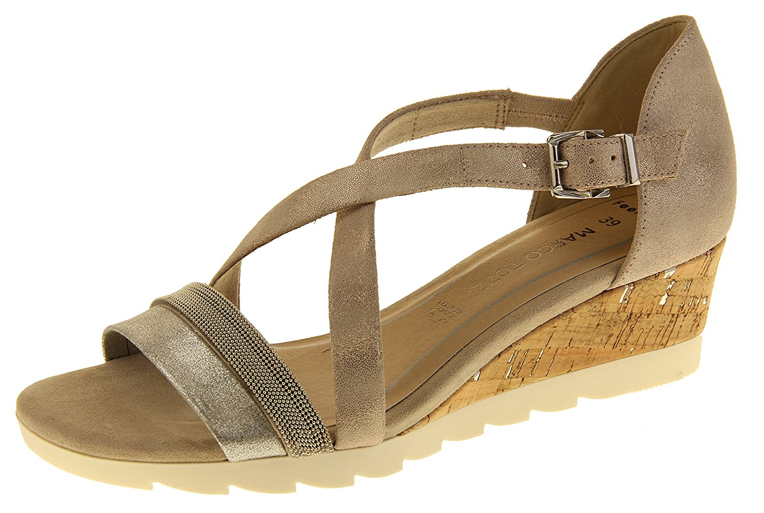 f3bcfcd0dc51 Get Quotations · Marco Tozzi Womens 28716 Leather Wedge Sandals
