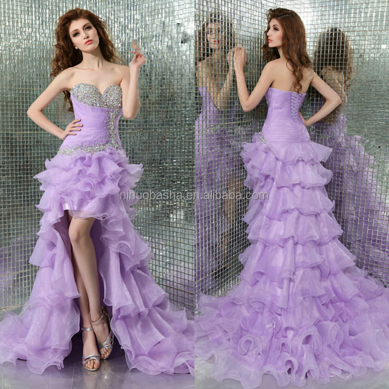 02b3a1da1d3 Exquisite 2014 Lavender Short Front Long Back Prom Dress Beaded Sweetheart  Ruffled Skirt Lace-up Organza Homecoming Gown NB0860