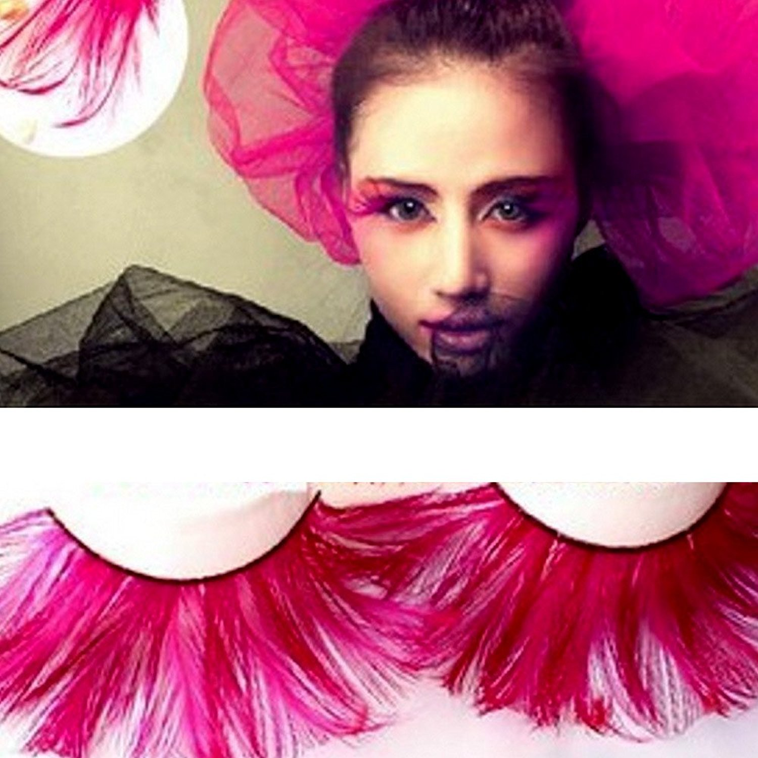 acb161f1d82 Get Quotations · CieKen Women's Long Feather Eyelashes Simulation Thick  Stage Fake Eyelashes Party Dance Halloween Costume (1