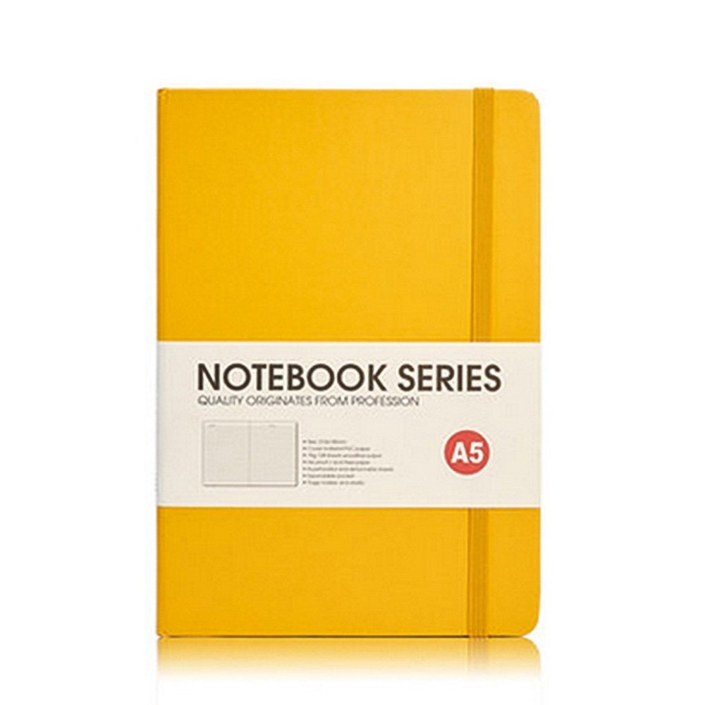 """Notebook Journal, Classic Leather Hardcover Writing Notebook, A5 Diary Notebook with Pocket (8.5"""" x 5.9"""") - 192 Pages (Yellow)"""