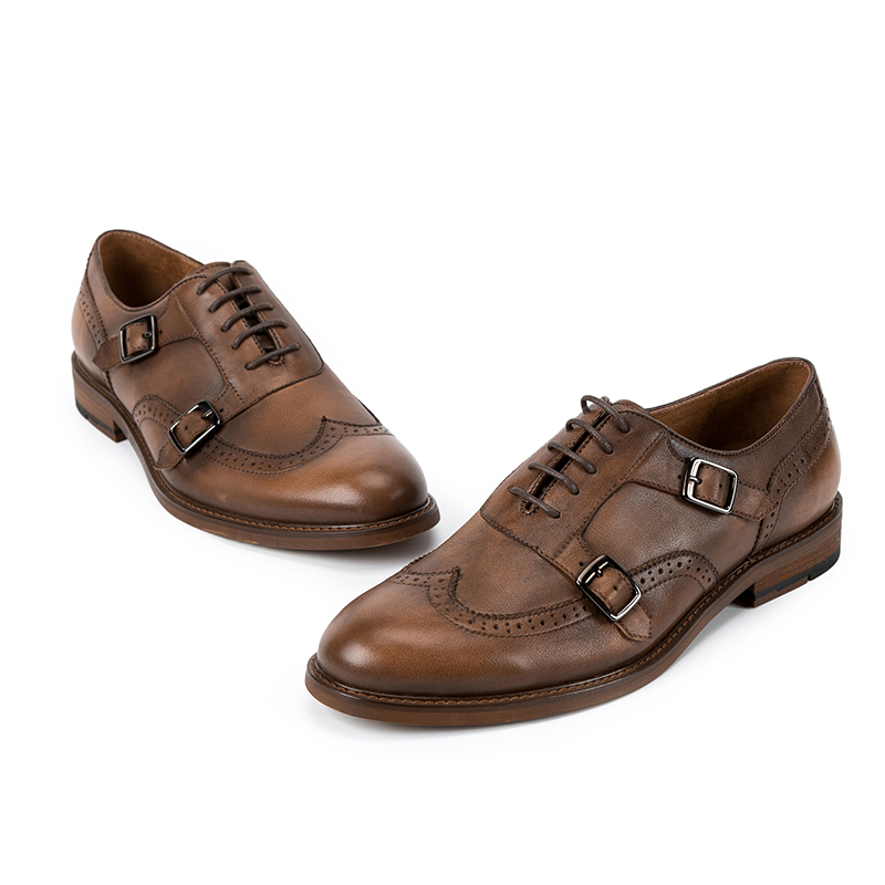 in strap brogue mens detailing shoes monk genuine leather Italian xYqHT1x