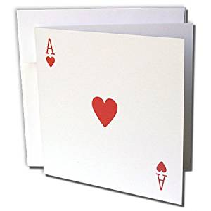 """3dRose Ace of Hearts Playing Card, Gifts Cards Players - Greeting Cards, 6 x 6"""", Set of 12 (gc_76551_2)"""