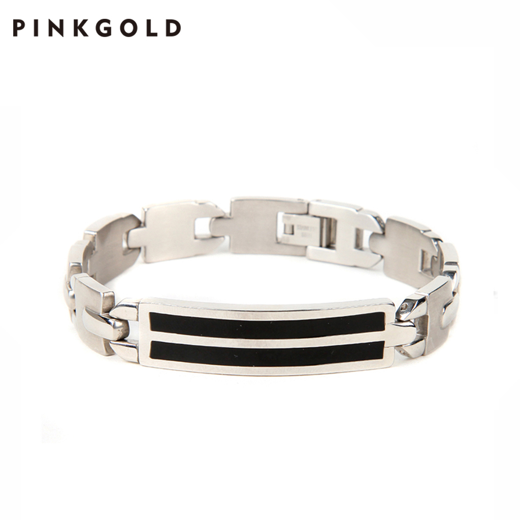 Pinkgold Amazon AliExpress Pria Emas Rubber Diamond Permanen Gelang Stainless Steel Perhiasan Magnetik