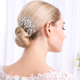 high quality shinning white rhinestone with pearl flower bride hair combs fashion women classic full crystal head jewelry