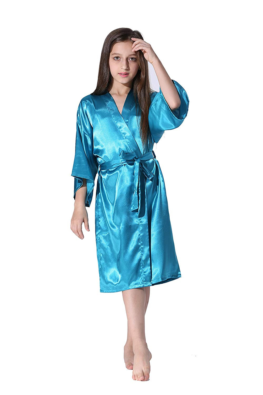 d4d256ef9d Get Quotations · Vogue Forefront Girls  Satin Plain Kimono Robe Bathrobe  Nightgown