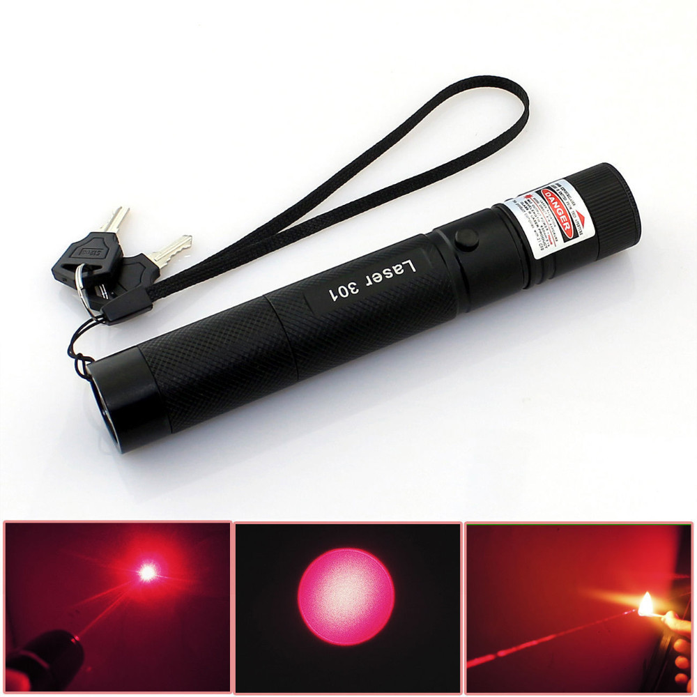 High Powered 301 Focus Burning Red Lazer Pointer With Safe Key