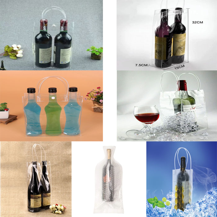 Reusable double seal PE bubble PVC plastic wine bottle protector sleeve