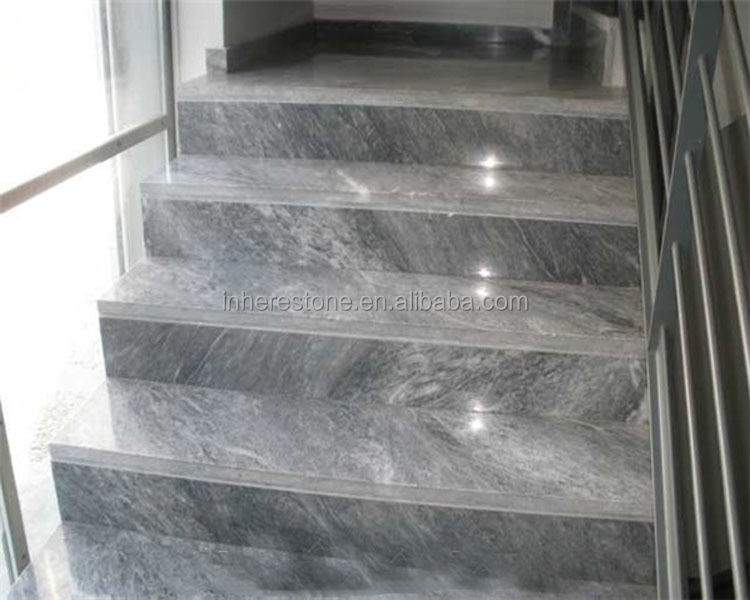 Grey marble modern interior stone stair treads