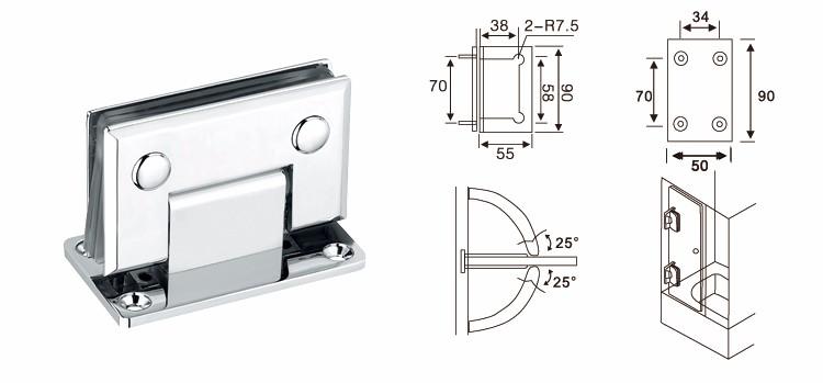 In ottone Standard di Alta qualità porta di vetro della cerniera/cerniera di vetro/doccia cerniera