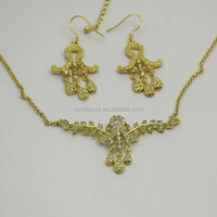Wholesale African Bridal Wedding Costume Jewelry Set Brass Gold Plated Earring Pendant Jewelry