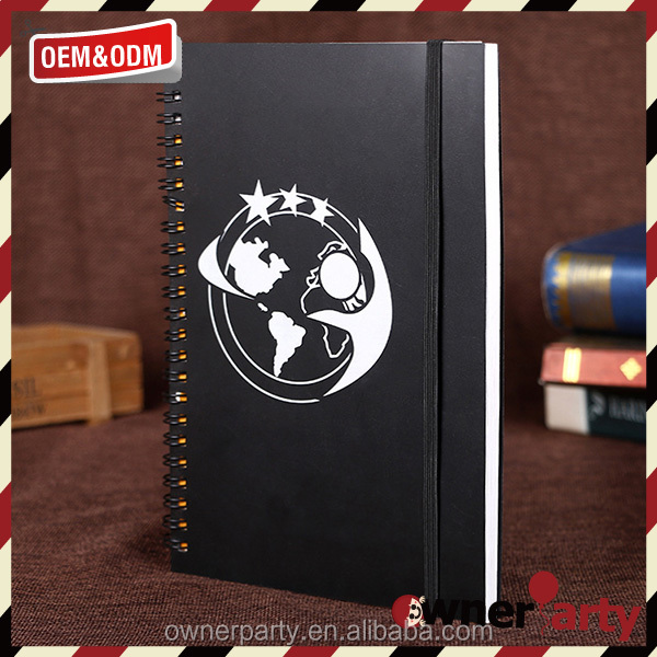 black paper cover composiion notebook with elestic closure/ring binder notebook