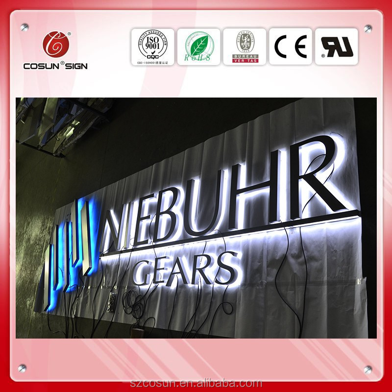 Metal backlit letter sign for advertising alpabet letters