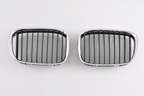 Wotefusi Car New Left & Right 2 Pieces Set Chrome Color Frame Middle Center Grille Grill With Black Slats For BMW 5 Series 525i 530i 2000-2003 2001 2002 528i 1996-2000 1997 1998 1999 540i 1998-2003