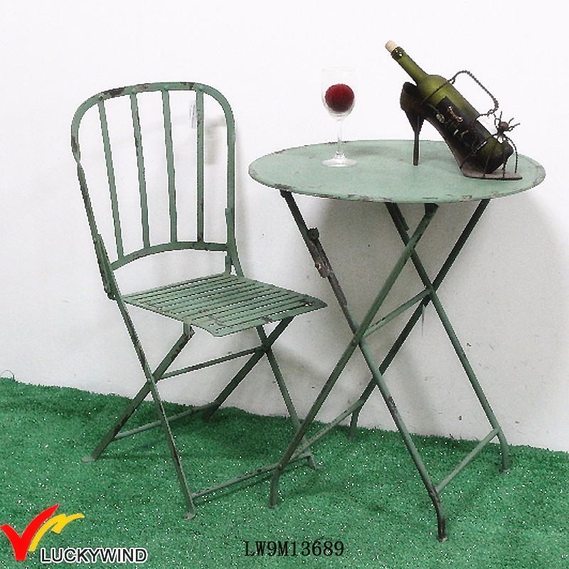 Antique Green Paint Portable Iron Metal Garden Furniture
