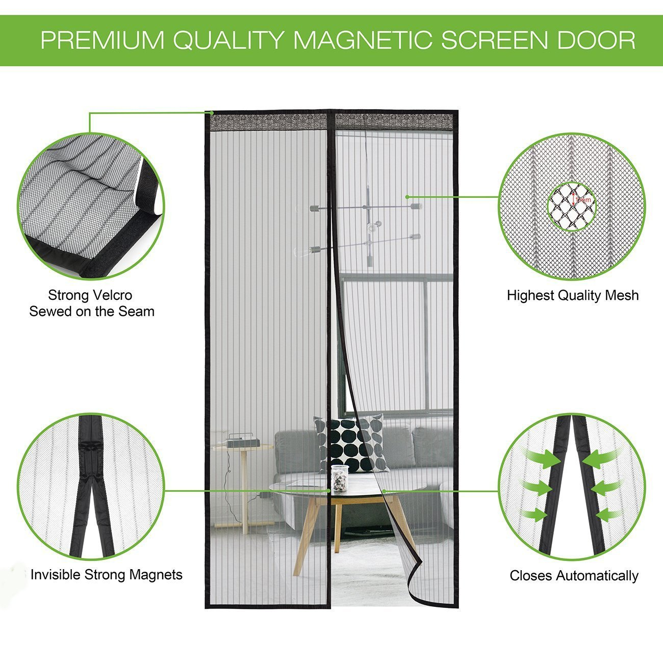 """TiTa-Dong Magnetic Screen Door, Polyester Yarn Mesh Curtain with Full Frame Velcro and Heavy Duty Mesh Curtain for Balcony, Patio Porch Keeps Mosquitoes Insect Bites Out Fits Doors Up to 38""""x 82"""""""