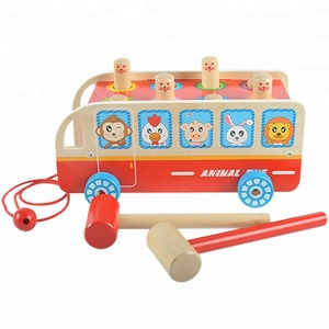 Wooden Animal Bus Whac-A-Mole YZ387 Classic Game Hammering Beat toy for kids 2018 Kid Toy