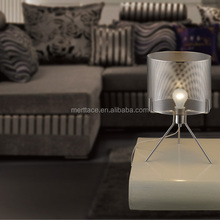 Hot Sale Classic Sliver Fabric Shade Table Lamp Simple Style,Working Table Lamp