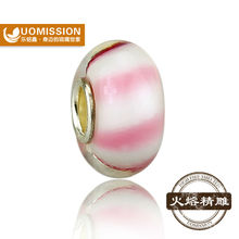 magic Pink line glass beads, Hot sale china wholesale silver plated handmade lampwork glass beads