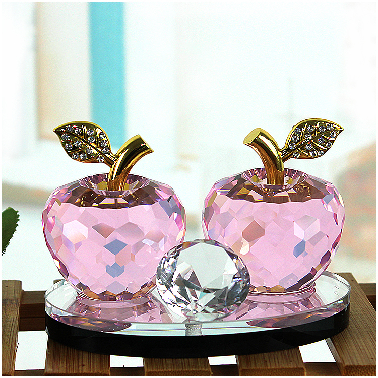 Hot Sale Apple Shaped Crystal Glass Perfume Glass Bottle For Car Decorations