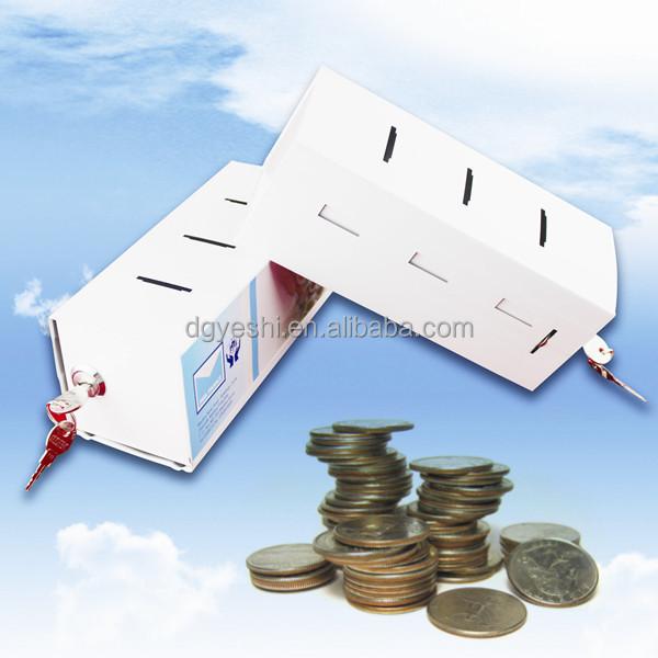 Grande retangular caixas de dinheiro do banco piggy com for Large piggy bank with lock